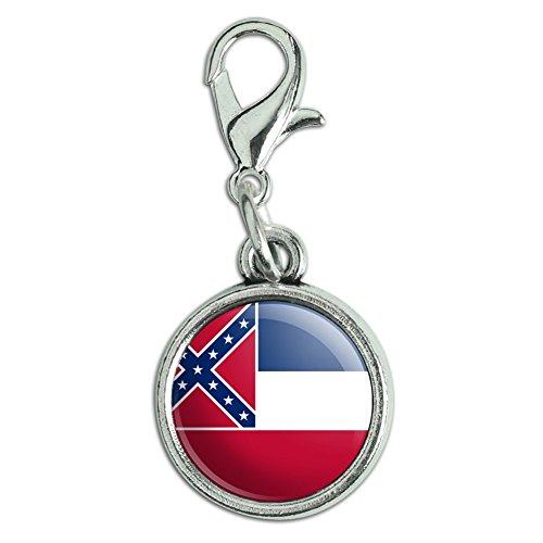 Antik Armband Anhänger Charm Zipper Pull Anhänger mit Karabinerverschluss State Flagge Mississippi State Flag (Mississippi State Flag)