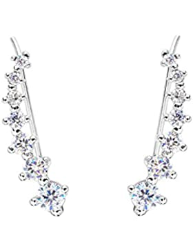 EVER FAITH® 925 Sterling Silber Cubic Zirkonia Round lang Ear Sweep Cuff Hook Ohrringe 1 Pair N07453-1