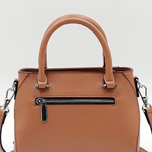 Frauen Faux-Leder-Aktenkoffer Messenger Bag Damen Handtaschen Multicolor Brown