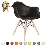VERKAUF! 1 x Design-Stuhl Eiffel Stil Natural Wood Beine und Sitz Farbe Schwarz Mobistyl® DAWL-NO-1