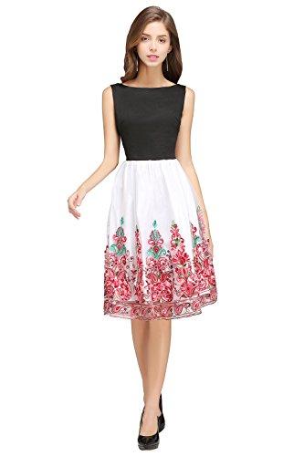 Damen 50er Swing Vintage Abiballkleid Tanzkleid mit Stickerei Lang Rot L
