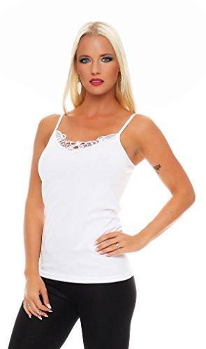 2er Pack Damen Unterwäsche mit Spitze (Unterhemd, Träger-Top, Shirt) Nr. 421 ( Weiß-Weiß / 56/58 ) - 3