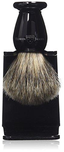 Edwin Jagger - Pennello da barba con setole di puro tasso, manico imitazione ebano, fatto a mano, con porta pennello, 8,6 cm
