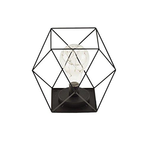 Incidence Paris 12767 LAMPE LED CAGE, Métal/Verre, Intégré, Noir, 20 x 20 x 21 cm
