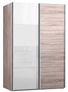 schwebet renschrank kleiderschrank ca 150 cm breit eiche sonoma mit glas weiss. Black Bedroom Furniture Sets. Home Design Ideas