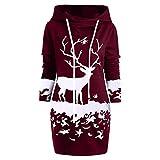 Riou Weihnachtskleid Pulloverkleid Damen Herbst Langarm Schneeflock Lang Gedruck Knielang Hoodie Sweatshirt Blouse Kleider (2XL, Wein E)