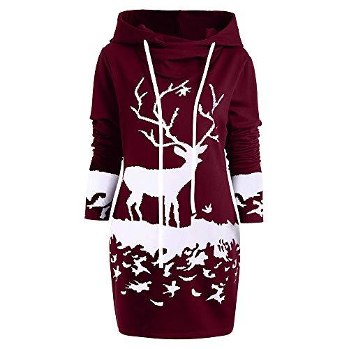 BaZhaHei Sweat-Shirt Robe de Noël Femmes, Mini-Robe à Cordon Capuchon imprimé de Renne de Noël Monochrome Femme(A-vin Rouge,2XL)