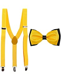 Yellow Y-Back Suspender With Bow Tie Combo For Men