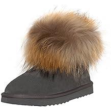 SKUTARI Wildleder Damen Winter Boots Warm Gefüttert Schlupf-Stiefel mit  Stabile Sohle Weiche Fell e03d97bdb4