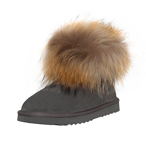 SKUTARI Leder Boots- Schneestiefel Fox Indianer Damen Winterstiefel Gefüttert (38, Grau 1) (Wildleder Fell Stiefel)