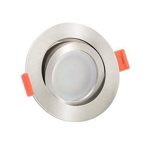10x dimmbare, flache (25mm) LED Einbau-Strahler | 6W statt 70W | 230V | 2700 Kelvin | warmweiße Lichtfarbe | Eisen-gebürstetes Aluminium | 10er Set 2700K 6 Led-strahler