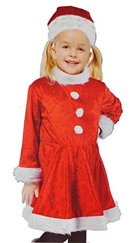 2 tlg. Kostüm Weihnachtsfrau - 7 bis 10 Jahre - Gr. 128 - 152 - Karneval / Weihnachten / Nikolauskostüm / Nikolaus - Kleid + Mütze - für Kinder Kind (Land Kinder Kostüme Halloween Für Mädchen)