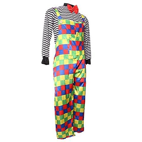 MagiDeal Adulte Costume Clown de Cirque Vêtement Déguisement Clown Comédie pour Anniversaire Enfant Carnaval - Salopette
