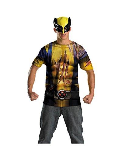 e Shirt mit Maske für Teens (Wolverine Kostüm Farben)