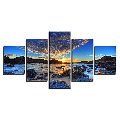 Comecong Dekorative Malerei,Einfache Multi-Wand-Malerei Inkjet Strand Rock Sea View Room Home kreative Handwerk Gemälde Malerei 5 Malerei Kern 30x40cmx2 30x60cmx2 30x80cmx1