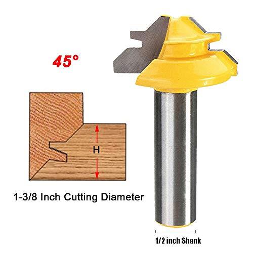 """Oberfräsen Einsätze zur Aushöhlung 45° Router Bits 1-3/8 Durchmesser Holz Fräsen, Schaftfräsen Bohrfräswerkzeug Holzbearbeitung Fräser (Shank 1/2"""" * Dia.1-3/8"""")"""