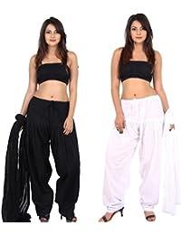 TEEJ New Women's Solid Cotton Punjabi Patiala Salwar With Dupatta Combo Pack Of 02 Pcs - B073GSM5S2