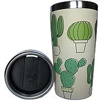 Tasse Thermos Bambou - Gobelet de Voyage avec Double Paroi en Acier Inoxydable et Fibre de Bambou - Café, Thé à Emporter - Mug Écologique sans BPA - Va au Lave-Vaisselle - Isotherme - Bouton Pression