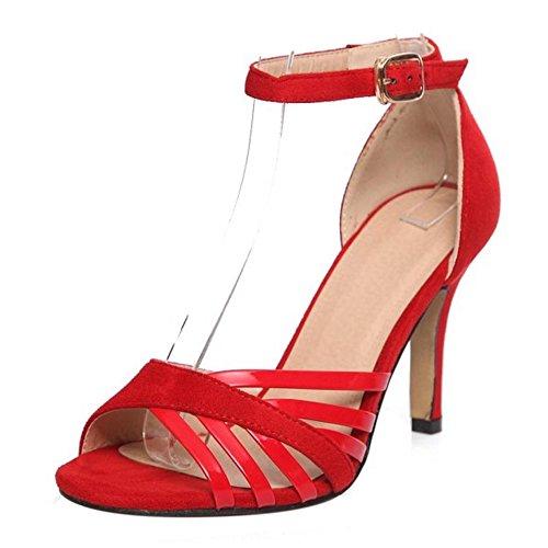 COOLCEPT Femmes Elegant Talon Aiguille Talon hauts Orteil ouvert Sandales Sangle de cheville Chaussures Rouge