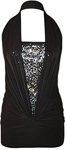 Chocolate Pickle ® Femmes HalterPaillettes Going Out Robe de soirée Black