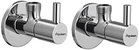 Aquieen Mini Flora Brass Angle Stop Valve with Wall Flange (Pack of 2)