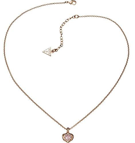Guess Damen-Kette mit Anhänger Messing Glas rosa 45.5 cm - UBN21564