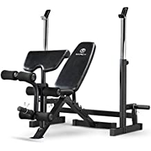 Marcy Deluxe MWB-838 Olympic Weight Bench with Squat Rack, Black, One Size