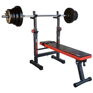 TrainHard banc de musculation pliable avec multi blackcombo 1,6 m longueur d'haltère et poids 40 kg