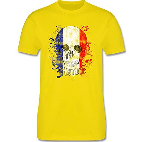 EM 2016 - Frankreich - France Schädel Vintage - Herren Premium T-Shirt Lemon Gelb