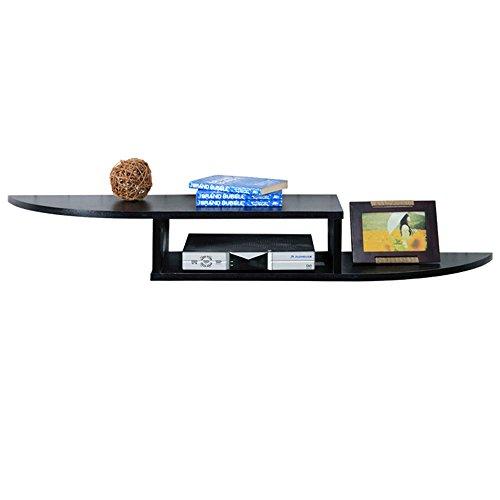 Stand MEIDUO Wall Mount Regal für DVD-Komponenten, Set-Top-Boxen, Kabel-Boxen, Streaming-Geräte und DVRs mit schwarzem Glas Regal sehr langlebig (Farbe : Black, größe : 140 * 24 * 15cm) Dvr Cd