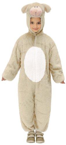 Widmann 9786K - Kinderkostüm Lamm, Overall mit Maske, Größe 113 (Plüsch Lamm Kinder Kostüme)