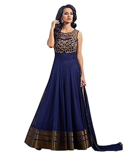 Lady Loop Creation Women\'s Blue Anarkali Semi-stiched gown (SB10_Blue)
