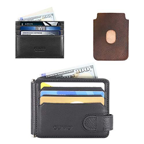 Guard Leather Kreditkartenetui, aus Leder, schlankes Design, weiches Leder, 3 Stück - - -