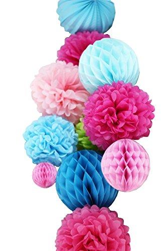 (SUNBEAUTY 11er Set Deko Kombination Pink Rosa Blau Wabenbälle Pompoms)