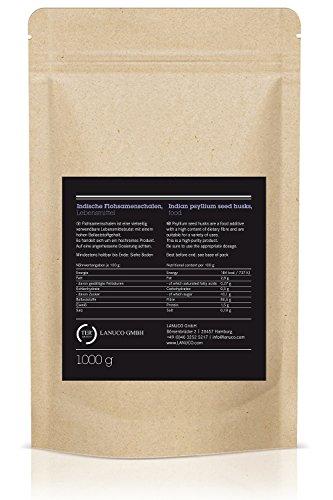 Flohsamenschalen 1kg, 95% Reinheit, Premium Qualität, Low-Carb, Glutenfrei, vegan, Ballaststoffe, Superfood, Premium Qualität