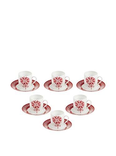 Galileo Casa Stella Di Natale Set Tazzine Caffè con Piattino, Porcellana, Rosso, 11x11x7 cm, 12 Unità