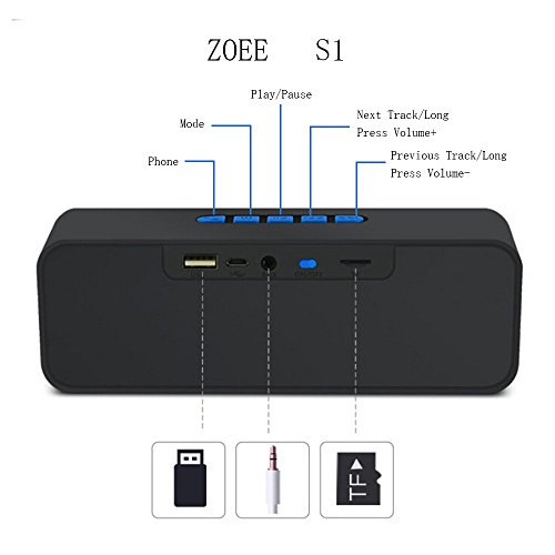 Wireless-Bluetooth-Speaker-ZOEE-S1-Outdoor-Stereo-Speaker-with-HD-Audio-and-Enhanced-Bass-Built-In-Dual-Driver-Speakerphone-Bluetooth-40-Handsfree-Calling-FM-Radio-and-TF-Card-Slot