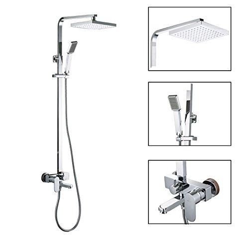 Galvanik Retro Wasserhahn KES X6607 eine Wandhalterung Badewanne und Dusche Wasserhahn mit Regendusche Kopf und schieben Sie Bar, Chrom, Weiß (Verchromt Schieben)