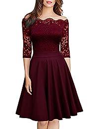 e1e97605e WANPUL Vestido Cóctel Mujer Fiesta Vintage Floral Vestido de Encaje Sin  Tirantes Vestido Elegante Corta