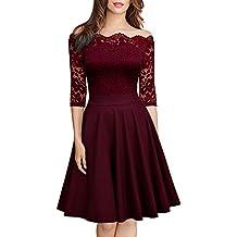 e219e39f5f WANPUL Vestido Cóctel Mujer Fiesta Vintage Floral Vestido de Encaje Sin  Tirantes Vestido Elegante Corta