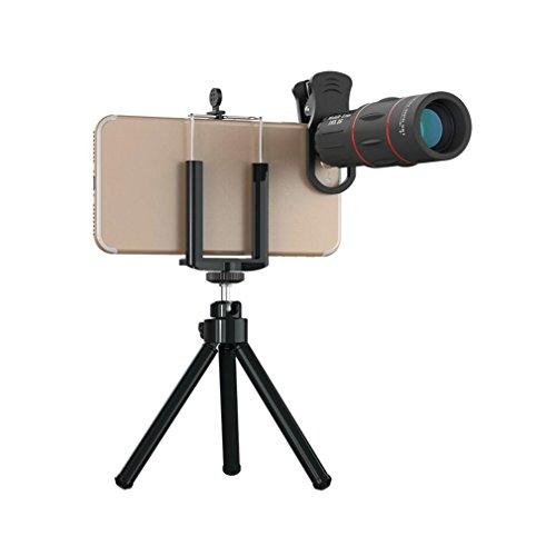 Obiettivo fotocamera telefono cellulare,obiettivo zoom ottico teleobiettivo universale 18x con treppiede,obiettivo fotocamera professionale per iphone samsung e la maggior parte degli smartphone