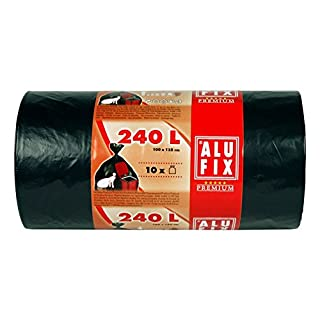 10 Stk. ALUFIX Müllsäcke extra Stark 240 L, HDPE 100x125 cm 35my, schwarz