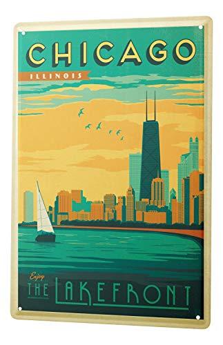 Blechschild Stadt Deko Chicago Skyline Segelboot Flussseite Metallschild 20X30 cm