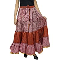 Mogul Interior Womens Flare Skirt Pink Sari Belly Dance Tiered Skirts OneSize