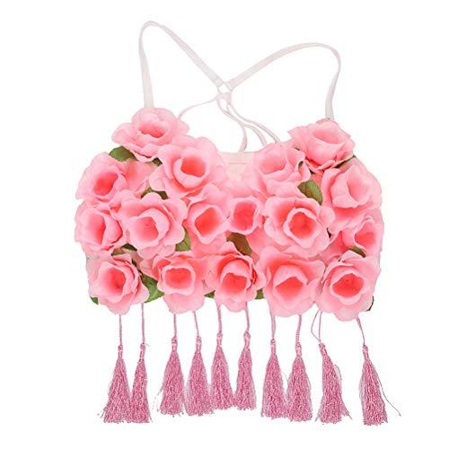 BESTOYARD Hawaii Gras Korsett Kostüm Tanz Tuch Schöne Blume BH Performance Kostüm für Frau Dame Weibliche (Rosa Rose