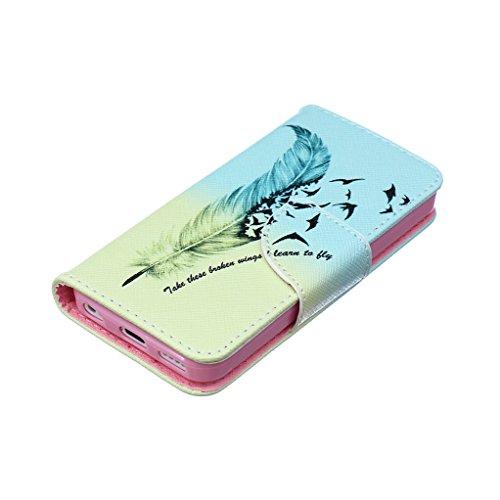 Trumpshop Smartphone Case Coque Housse Etui de Protection pour Apple iPhone 5/5s/SE + Fleur de Prunier + Mode Portefeuille PU Cuir Avec Fonction Support Anti-Chocs Apprendre à voler