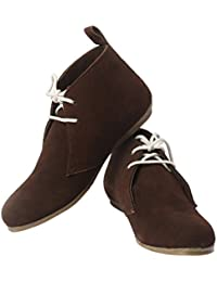 Elegans Genuine Leather Women's Casual Ankle Boots - Brown