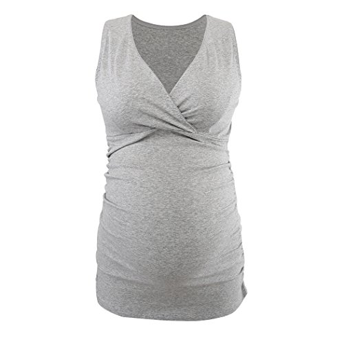 Schwangere Stillshirt, KUCI Damen Schwanger T-Shirt Umstandsmode Umstandsshirt Mutterschaft Umstandstop/ Schlaf BH zum Stillen Grey