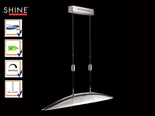 Dimmbare & höhenverstellbare LED Hängeleuchte SHINE-ALU, Design Nickel antik, Fischer Leuchten 13466