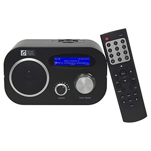 Ocean Digital WR80 WiFi Wlan Wireless Internet Radio Tuner Empfänger Ethernet-Anschluss Desktop-Musik Media-Player LCD-Display - schwarz